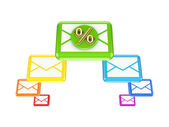Colorful envelopes and golden percent symbol. — Stock Photo