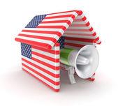 大声公作的美国国旗在屋檐下. — 图库照片