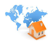 3d small house against map of the world. — Stock Photo