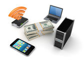 Electronics around packs of dollars. — Stock Photo