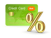 Credit card and percents symbol. — Stock Photo