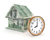 3d small house made of dollars and big watch. — Stock Photo
