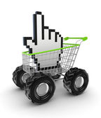 Cursor in a shopping trolley. — Stock Photo
