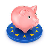 European Union symbol and piggy bank. — Stock Photo