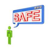 3d malé okno na osobu a os slovem bezpečné. — Stock fotografie