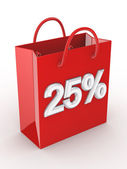 "The red bag labeled ""25%"". — Stock Photo"