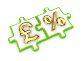 Puzzles with pound sterling and percents symbols. — Stock Photo