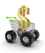 Dollar sign in a shopping trolley. — Stock Photo