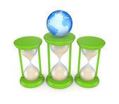 Písek brýle a globus. — Stock fotografie