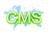 Green word CMS and world's map. — Stock Photo