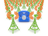 Yeşil antenler ve vintage mavi telefon. — Stok fotoğraf