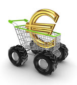 Euro sign in a shopping trolley. — Stock Photo