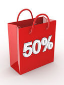 "The red bag labeled ""50%"". — Stock Photo"