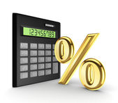 Calculator and golden sign of the percents. — Stock Photo