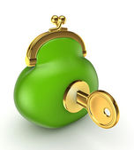 Gold key in a green vintage purse. — Stock Photo