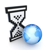 Sandglass 3d icon and a globe. — Stock Photo