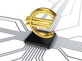 Euro symbol on processor. — Stock Photo