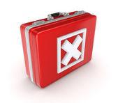White cross mark on a red suitcase. — Stock Photo