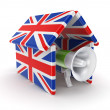 Mega[hone under the roof made on british flags. — ストック写真