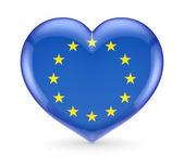 флаг европейского союза на символ сердца. — Стоковое фото