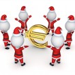 Santas around sign of euro. — Stock Photo