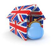 μπλε τσαντάκι κάτω από τη στέγη από βρετανική σημαίες. — 图库照片