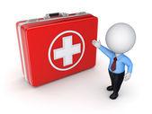 Valise médicale et 3d personne petit. — Photo