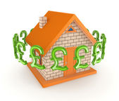 Pound sterling signs around small house. — Stock Photo