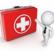 Medical suitcase and 3d small person. — Stock Photo
