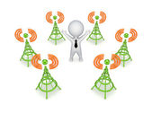 Stylized antennas around 3d small person. — Stock Photo