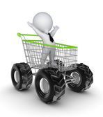 Happy 3d small person in a shopping trolley. — Stock Photo