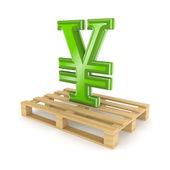 Symbol of yen on pallet. — Stock Photo