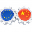 European Union and chinese flags on a gears. — Stock Photo