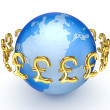 Stock Photo: Pound sterling signs around Earth.