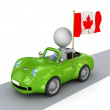 3d small person on orange car with Canadian flag. - Stock Photo