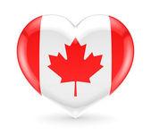 Bandera de canadá en un símbolo de corazón. — Foto de Stock