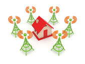 Stylized antennas around small house. — Stock Photo
