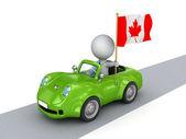 Kanada bayrağı ile turuncu araba 3d küçük kişi. — Stok fotoğraf