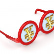 Hypnotic glasses with a symbol of yen. — Stock Photo