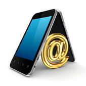 AT symbol icon under mobile phones. — Stock Photo