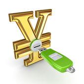 Memoria flash conectada a un símbolo yen. — Foto de Stock