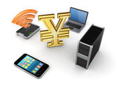 Modern media devices and notebook around yen. — Stock Photo