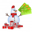Snowman with credit cards and gift boxes. — Stock Photo
