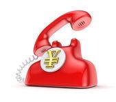 Retro telephone with yen symbol. — Stock Photo