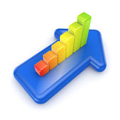 Colorful graph on a blue arrow. — Stock Photo