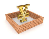 Wall around golden yen symbol. — Stock Photo