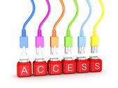カラフルなパッチコードと word アクセス. — ストック写真