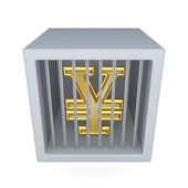 Yen symbol in a cage. — Stock Photo