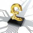 Pound sterling sign on processor. — Stock Photo