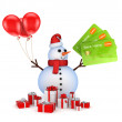 Snowman with credit cards and gift boxes. — Stock Photo #22286761